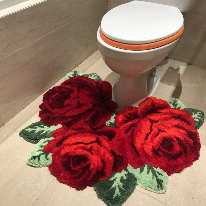 3D Red Rose Carpet For Bathroom Rug For Bethroom Livingroom Carpet Pink Rose Carpet Flower Rugs Bath Mats Anti-slip