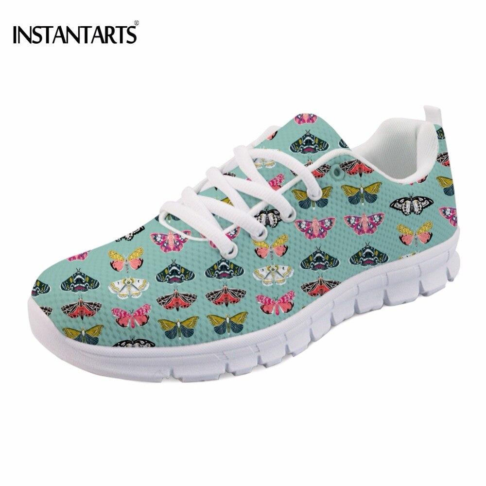 INSTANTARTS бабочки мотыльки Lepidoptery насекомых крылья печати для женщин Сникерсы для сезона весна осень стильные студенческие туфли на плоской по