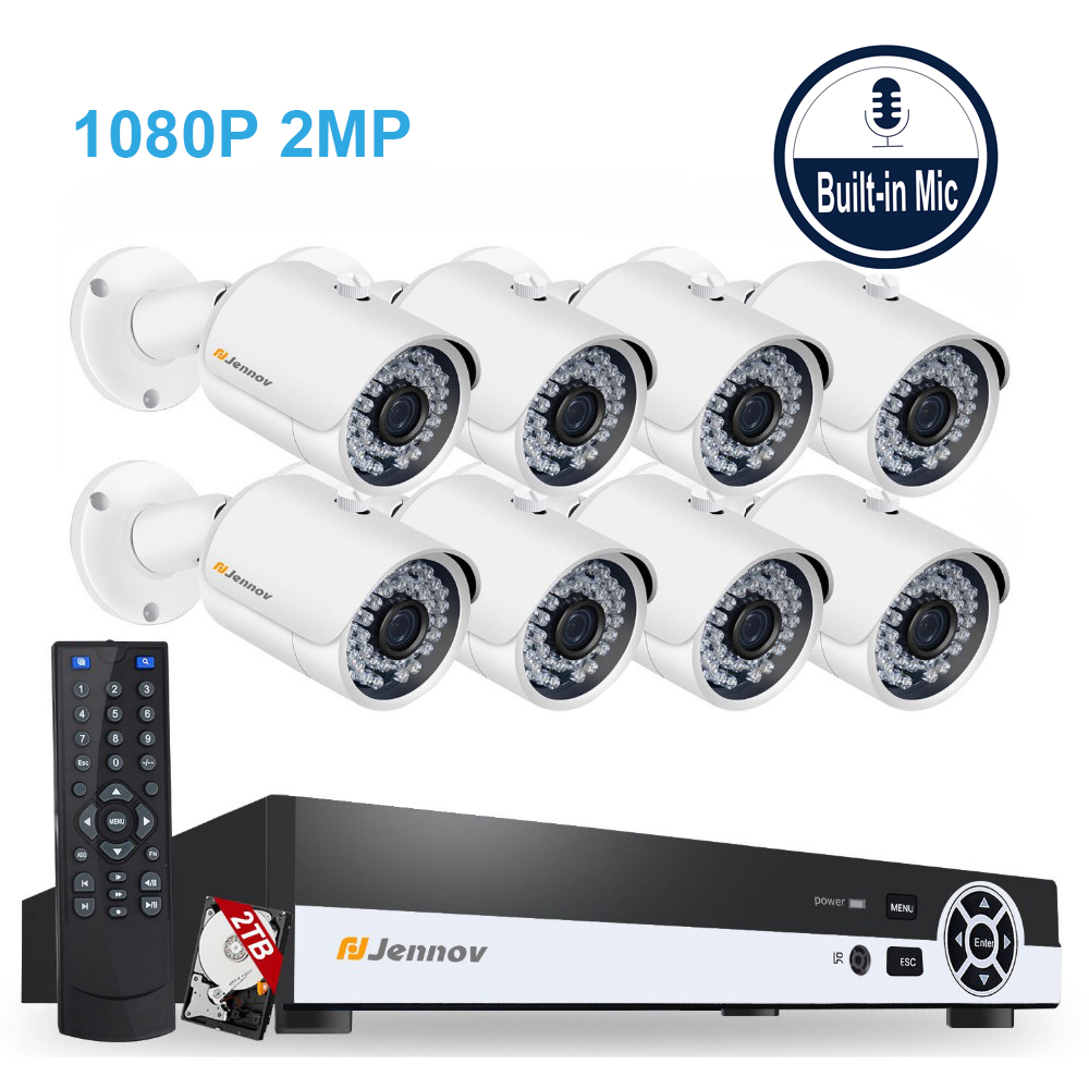 8CH POE 1080P 2MP Audio Record Home Security Camera Led Light Video Surveillance System Kit CCTV Set NVR ip Camera Outdoor ipCam