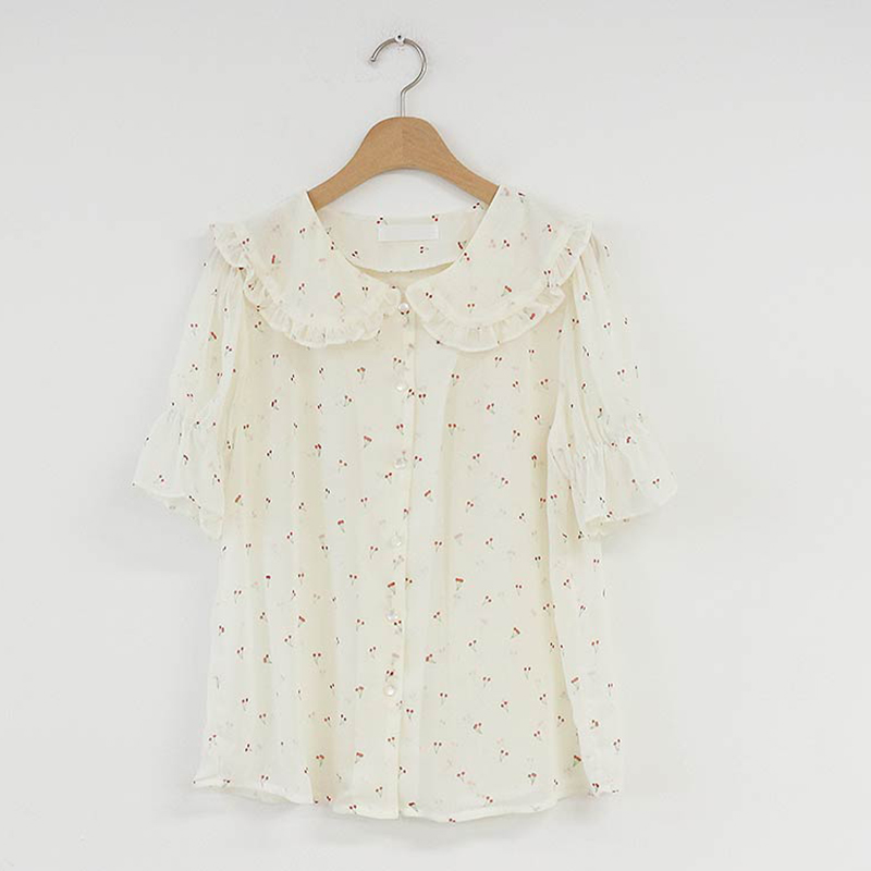 shintimes Peter Pan Collar Chiffon Blouse Short Sleeve Floral Shirt Summer Ladies Tops And Blouses 2019 Korean Chemisier Femme in Blouses amp Shirts from Women 39 s Clothing