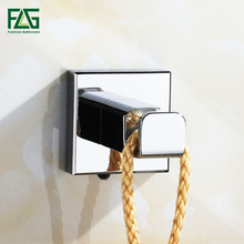 купить FLG Robe Hooks Solid Brass Chrome Finish Clothes Hook Door Wall Hooks Contemporary Square Bathroom Accessories Towel Hook G133 дешево