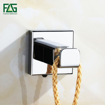 FLG Robe Hooks Solid Brass Chrome Finish Clothes Hook Door Wall Contemporary Square Bathroom Accessories Towel G133