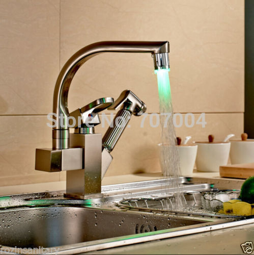 ФОТО Deck Mounted Brushed Nickel Double Spout Kitchen Faucet LED Pull Out Kitchen Sink Mixer Taps