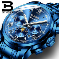 BINGER Switzerland Moon phase Blue Wave Dial Fashion Casual Design Men Watch Top Brand Mechanical Automatic Wrist Watch For Men