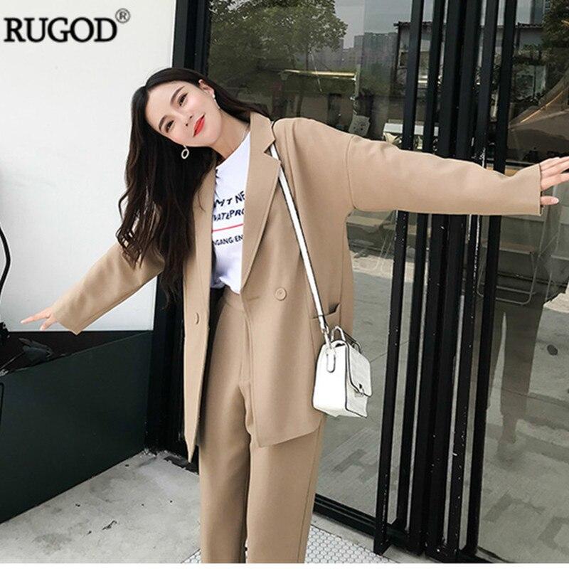 RUGOD nouveau été automne Blazer pantalon costumes femmes deux 2 pièce ensemble Vintage bureau dame affaires kaki costumes de haute qualité 2019