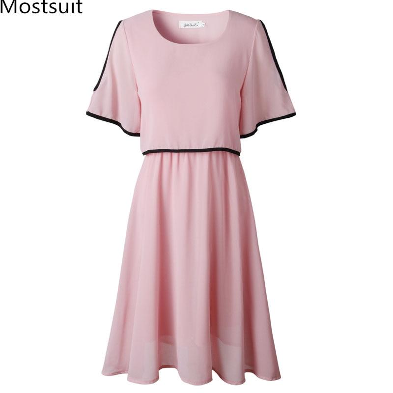 Летнее шифоновое платье с коротким рукавом для женщин; большие размеры; открытые трапециевидные плиссированные платья; пикантные вечерние ...