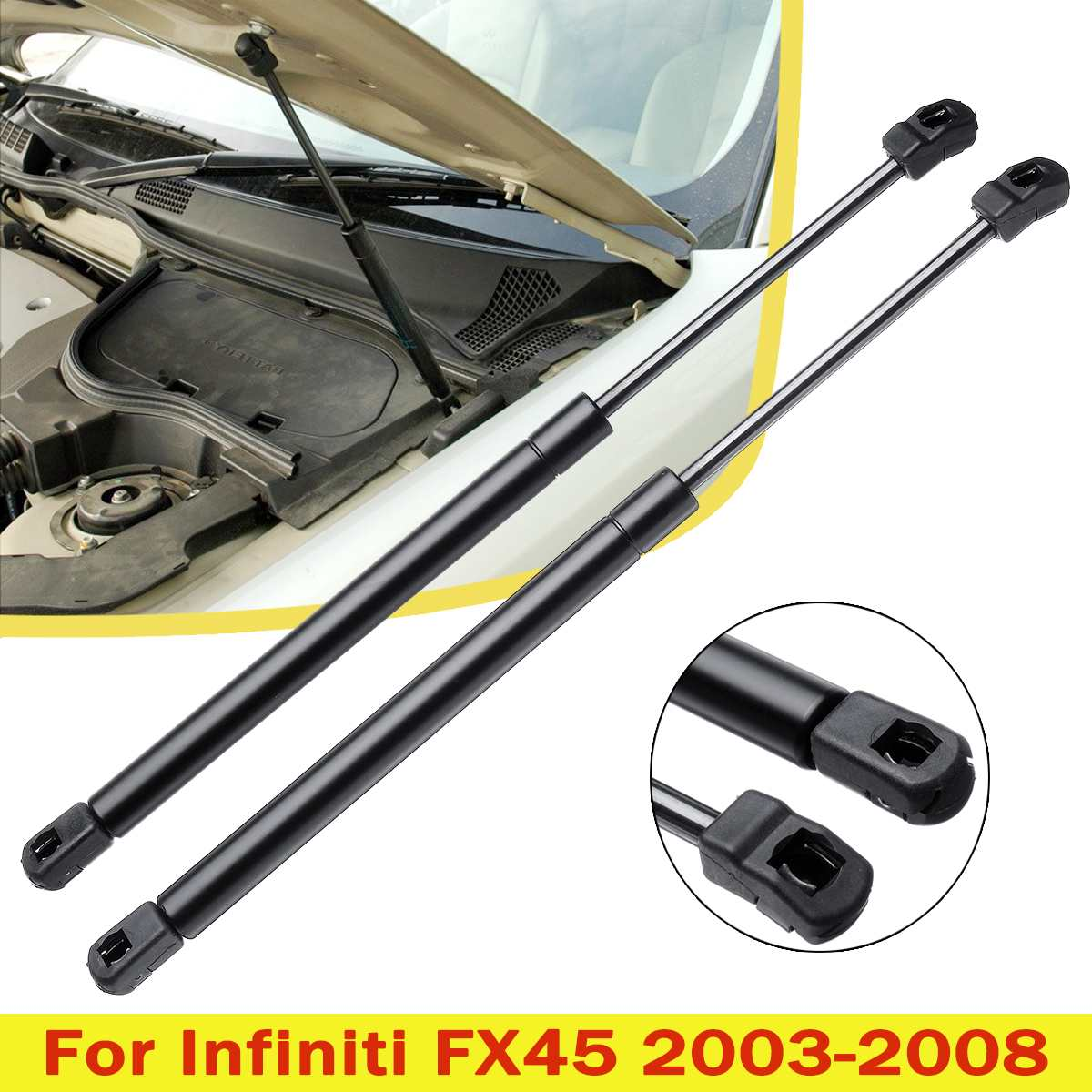 2X Front Engine Cover Bonnet Hood Shock Lift Struts Bar Support Arm Gas Hydraulic SG371003 For Infiniti FX35 FX45 2003 - 2008