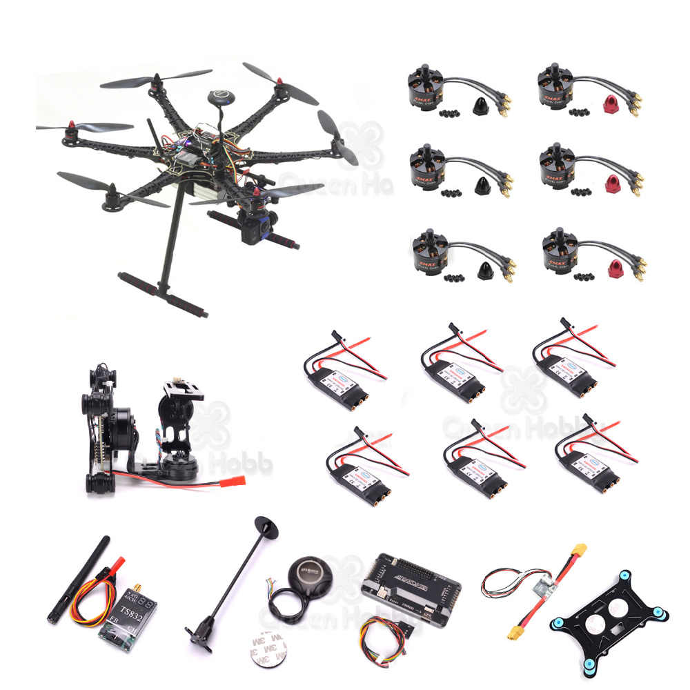 S550 F550 500 Upgrade Hexacopter APM 2.8 M8NGPS Power Moudle MT2213 935KV Motor 30A ESC 1045 Prop TS832 Gimbal Super combo