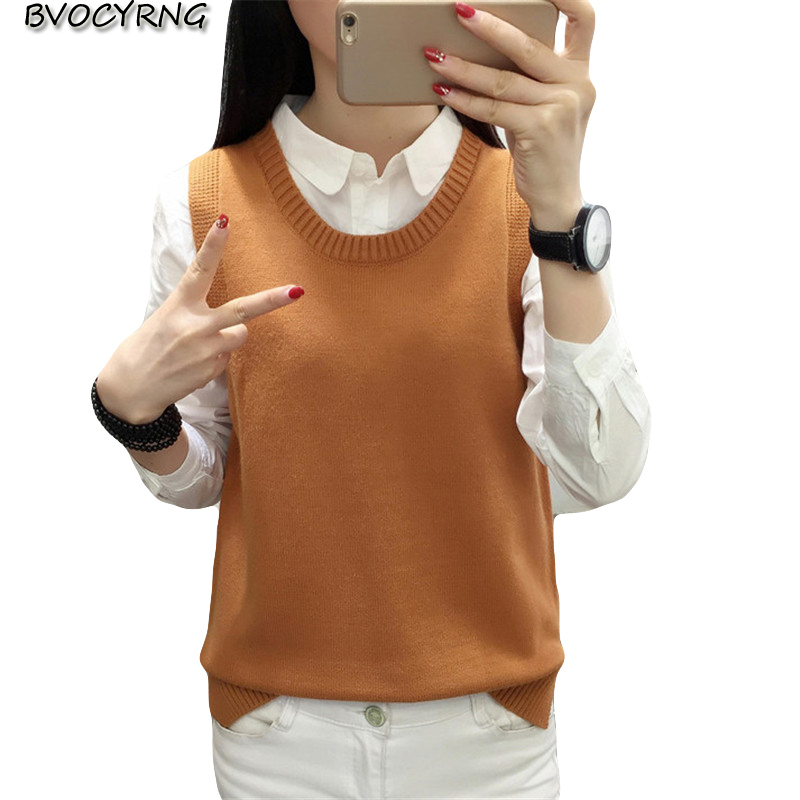 Sweater Vest Oversize Wool Female Autumn Women Sleeveless Casual New Spring O-Neck Tank-Tops