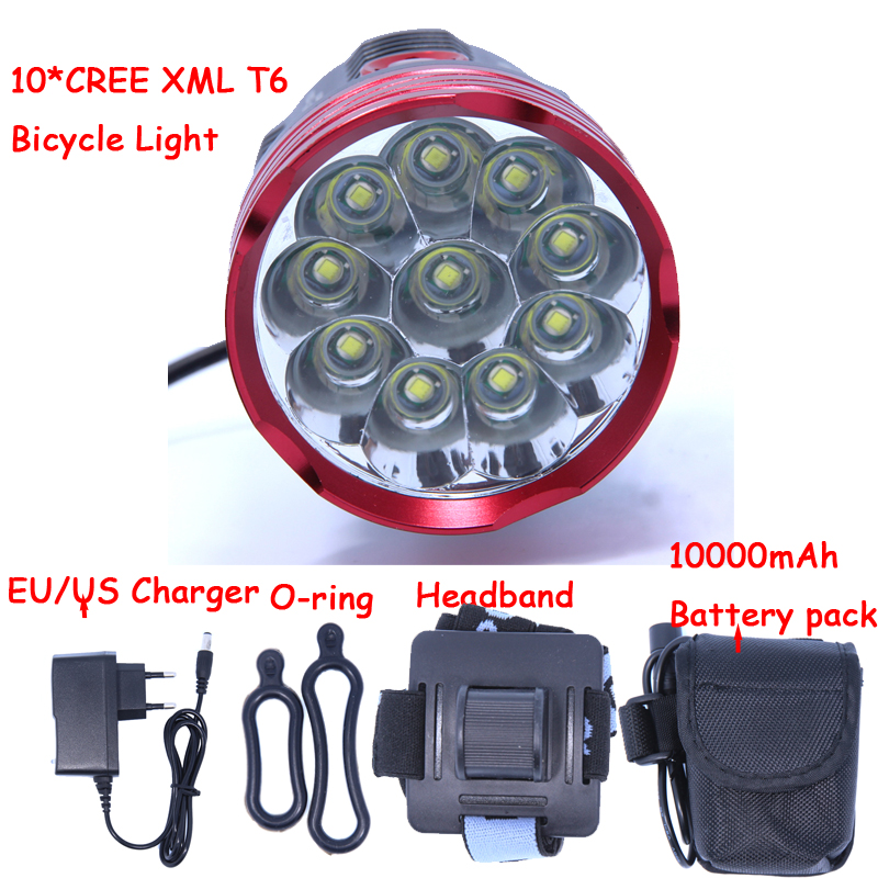 2016 New 18000 Lumens 10 X CREE XM-L T6 LED Bicycle Light Headlamp Headlight Bike Cycling Lamp + 10000mAh Battery pack + Charger hot sale 3x cree xml t6 led headlamp bike light 5000 lumen 18650 led head light 4x18650 battery pack charger bike rear light
