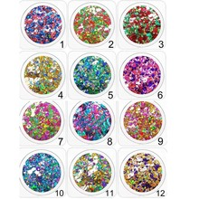 12box/set 3D Nail Sequins Mixed Round Dusts Glitter Flakes Art Powder Colorful Tips Manicure PT52