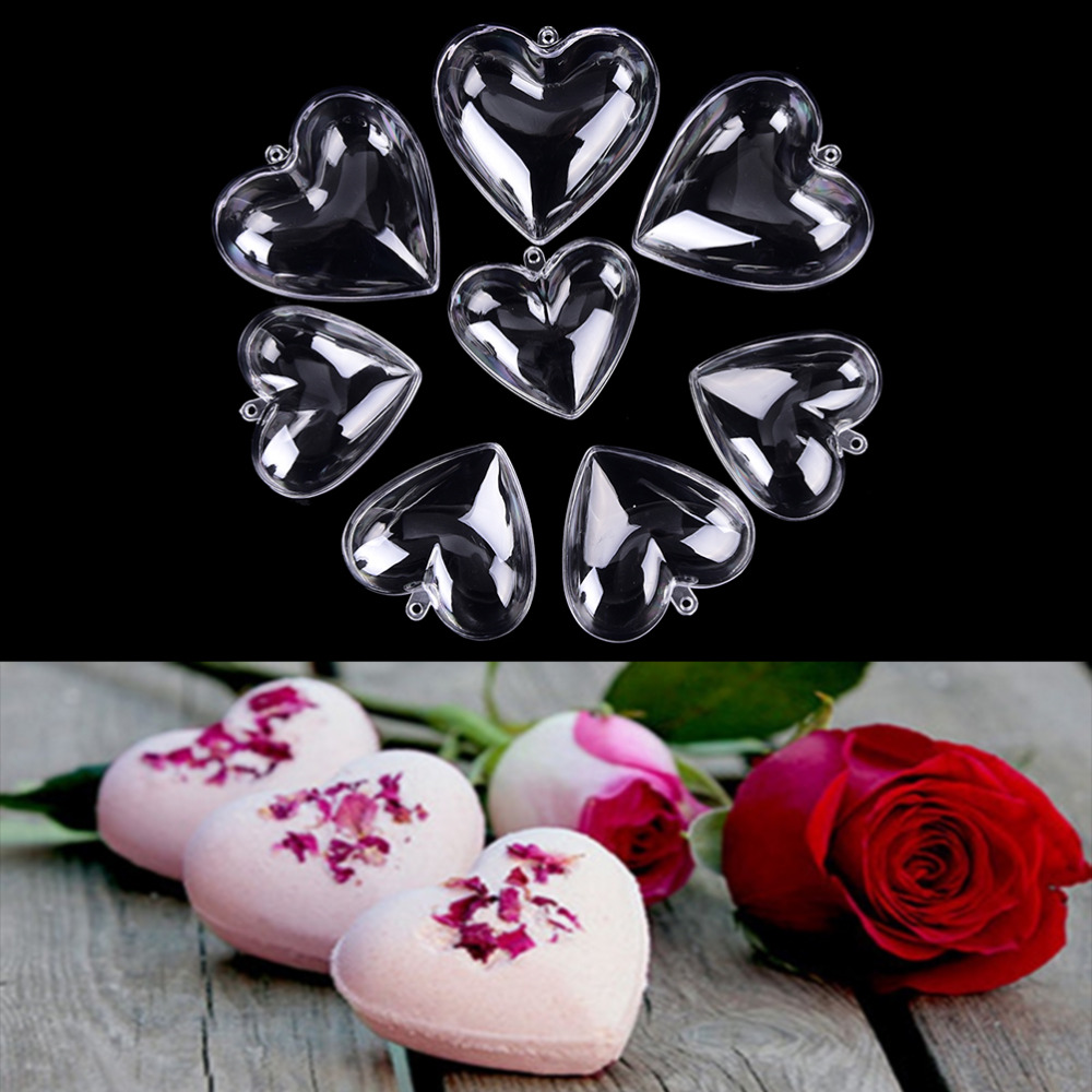 1set/2pcs 65/80mm Heart Shape DIY Clear Plastic Bath Bomb Mould Acrylic Mold
