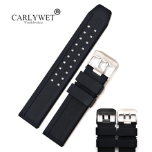 CARLYWET 23mm Wholesale High Quality Rubber Silicone Replacement Wrist Watch Band Strap Belt With Black Silver Buckle quality silicone watchband 23mm black sport style for mens replacement silicone watch bands with steel buckle