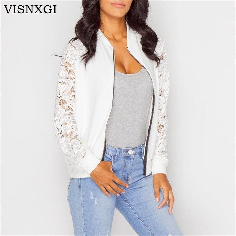 VISNXGI Lace Sleeve Women   Basic     Jackets   Long Sleeve Lace Patchwork Transparent Zipper Casual   Jacket   Coat Bomber   Jacket   Outwear
