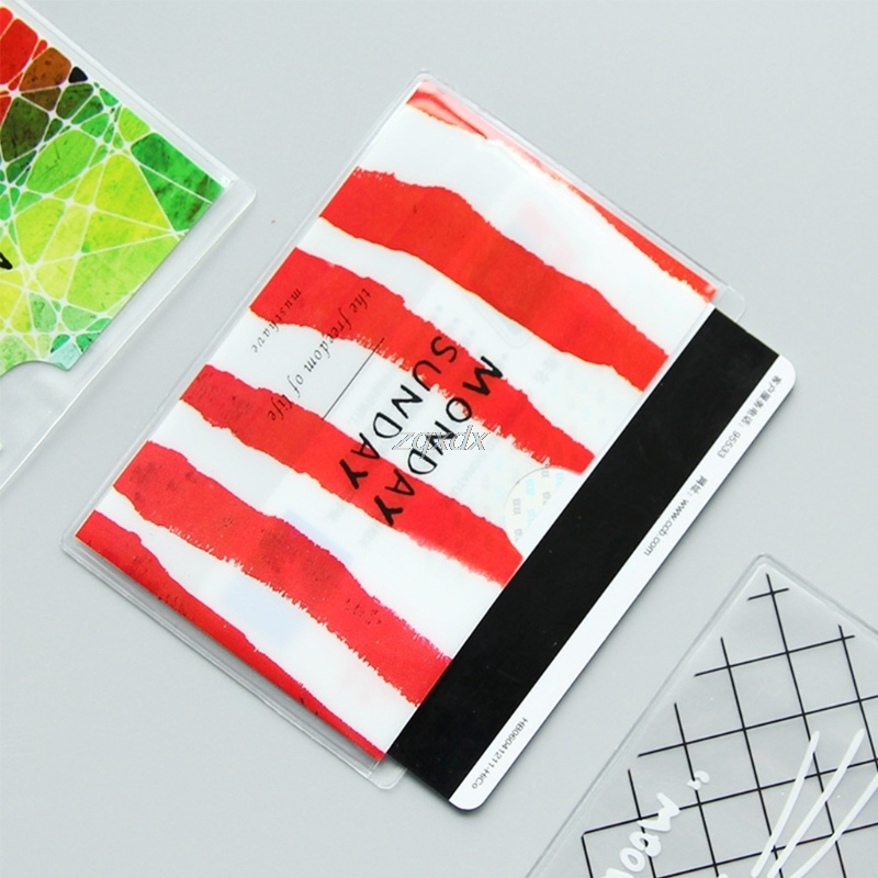 Brief Cartoon Style Transparent Double Layer PVC Card Cover Bus Bank Id Card Case Holder randomly color Z14 Drop ship