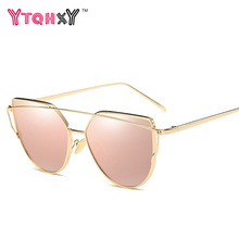 Fashion  sunglasses women gold Glasses Brand Cat Eye Sun Glasses Male Mirror vintage cat sunglasses men Female oculos de sol Y02
