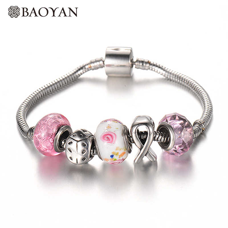 BAOYAN Stainless Steel DIY Charm Bracelet & Bangle with Pink Ribbon Ladybug European Murano Charm Beads for Women Drop Shipping