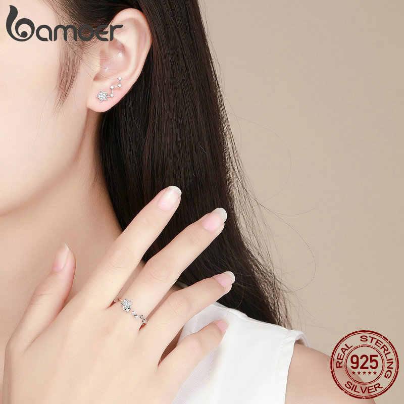 BAMOER authentique 925 argent Sterling étoile scintillante claire CZ anneaux boucles d'oreilles pour les femmes ensemble de bijoux en argent Sterling bijoux cadeau