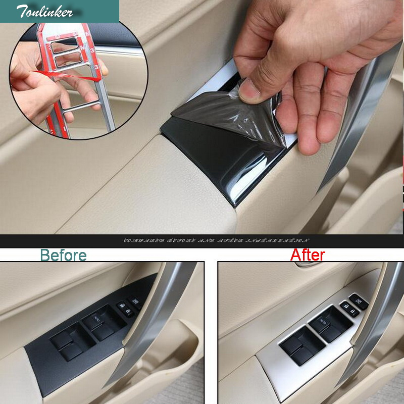 Tonlinker Cover Case Sticker for TOYOTA corolla 2014-17 Car Styling 4 PCS stainless stee ...
