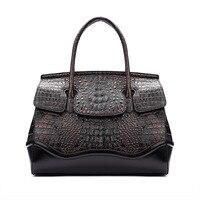 Women Handbag Women's Genuine Leather Handbags Crocodile Pattern Luxury Designer Brand Lady Vintage Shoulder Bag Female Handbag