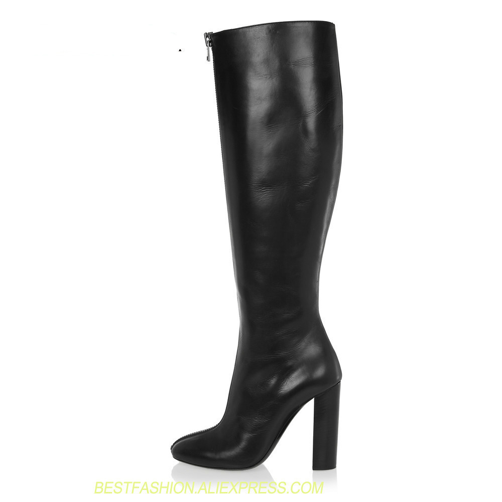 Over the Knee High Heel Boots Round Toe Chunky Thick Extreme High Heels Front Zipper Sexy Women Boots Winter Shoes Plus Size 45 стоимость