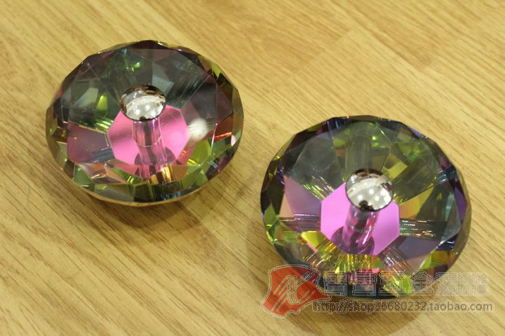 1 Pair 60mm K9 Glass Colorful Crystal Furniture Handle Drawer Pull&Cabinet Handle&Knobs (Diameter:60mm) 30pcs furniture fittings k9 clear crystal glass cabinet drawer knobs door handle diameter 30mm