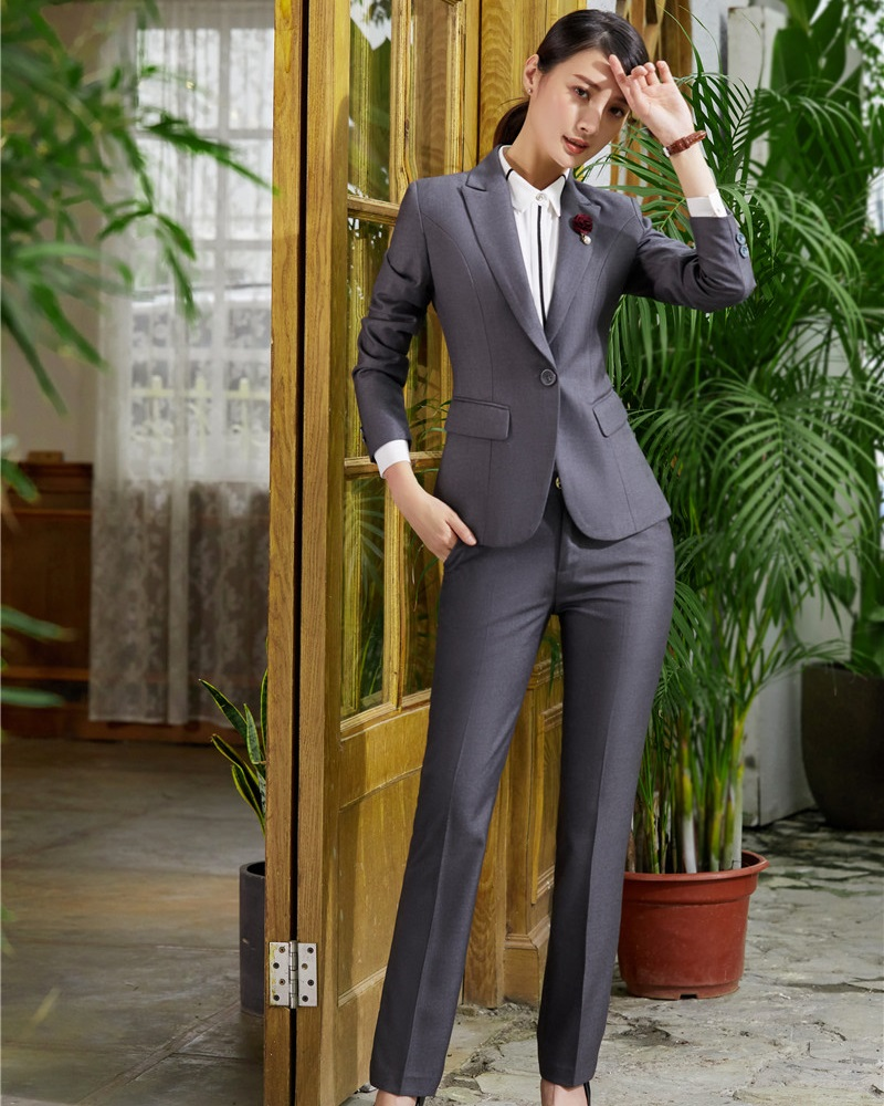 AidenRoy 2018 Hot Sell New Styles Formal Ladies Grey Blazer Women Business Suits Pant and Jacket Sets Office Uniform Designs