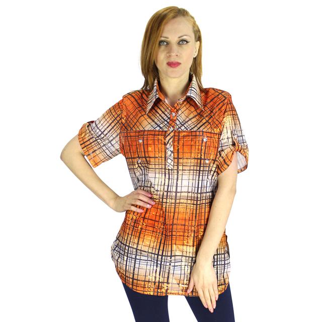 BFDADI 2016 Verão Moda Feminina Xadrez Clássico Mulheres de Manga Curta Casual Shirts Turn Down Collar Tops Plus Size 6XL 3230