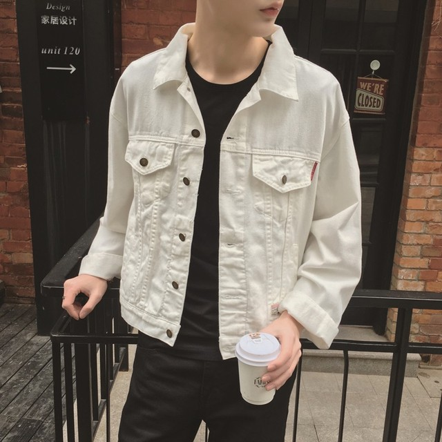 White Denim Jacket Men 2017 New Korean Fashion Mens White Jean Jackets With Flap Pockets At Chest Male White Denim Coat
