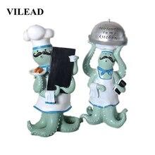 VILEAD 34cm Resin Octopus Mustache Chef Figurines European Creative Retro Ornaments Restaurant Bakery Soft Decoration Hogar Gift