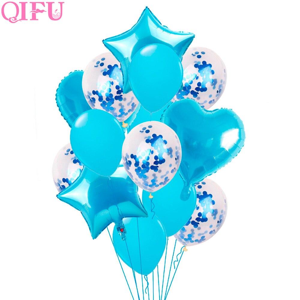 QIFU BabyShower Boy First Birthday Balloon Air Pink Girl Helium Foil Balloon Figures 1 year 1st Birthday Party Decorations Kids