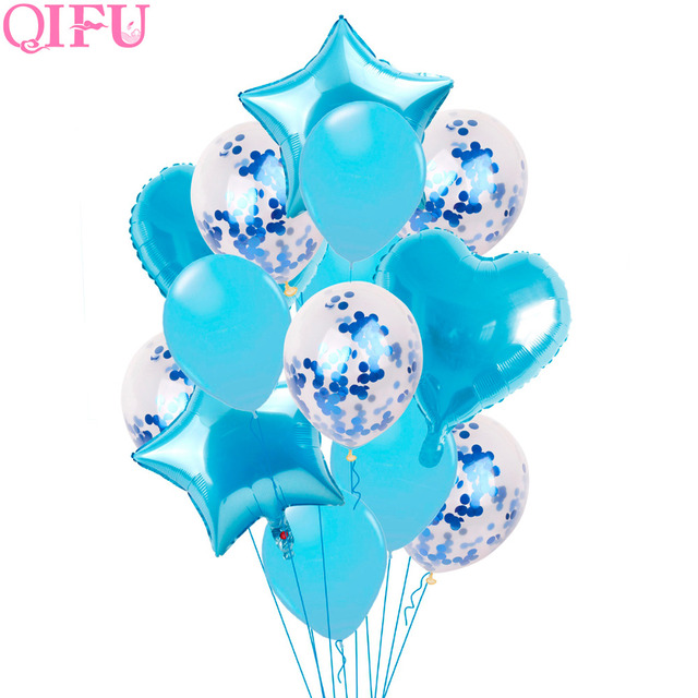 QIFU BabyShower Boy First Birthday Balloon Air Pink Girl Helium Foil Balloon Figures 1 year 1st Birthday Party Decorations Kids