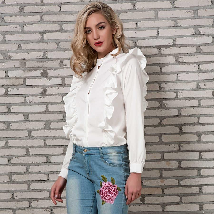 c4aac984bdc785d ... Блузка с рюшами Для женщин Весна 2018 Новое поступление рубашка с  длинными рукавами Дамы Стенд воротник ...