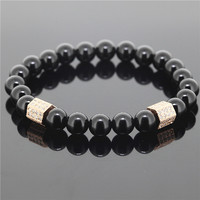 1PC 8mm Beads Men Stretch Bracelet Black Onyx Agate Stone Antique With Rose Gold Cubic Zirconia