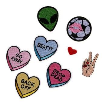 Ropa bordado Alien/fútbol/Finger Gestrue Mix parches para ropa bolsas accesorios DIY