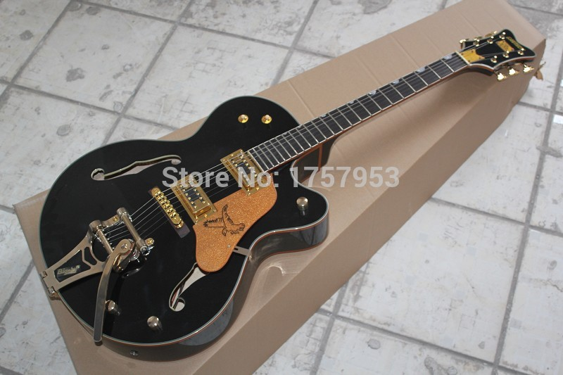 Free Shipping Factory Custom Shop 2017 new Semi Hollow Body black Gretsch Falcon 6120 Jazz Electric Guitar With Bigsby Tremolo купить