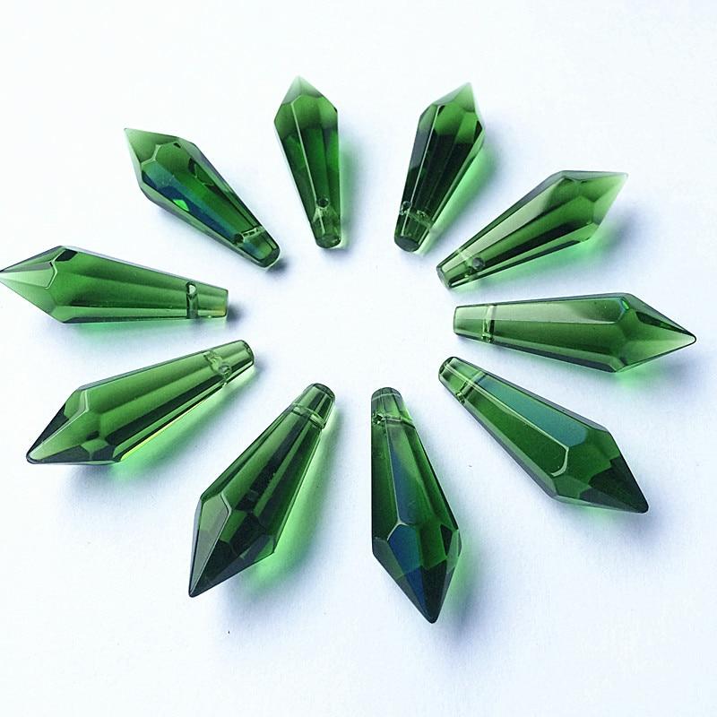 K9 Хрустальная люстра подвески призмы(бесплатное кольцо) многоцветная огранка и граненое стекло 36 мм u-сосулька капли для украшения торта - Цвет: Green