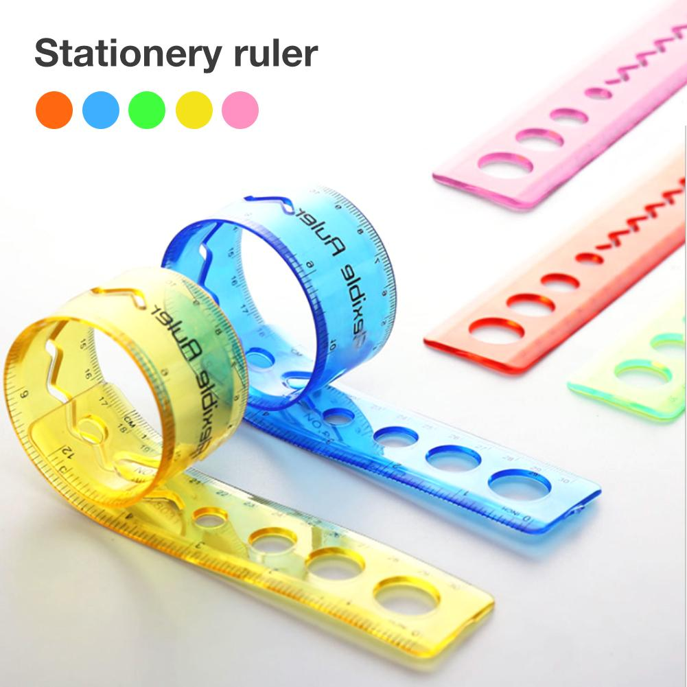 4PCS Office Stationery Student Flexible Stationery Ruler Bendable 12 Inch Transparent Shatterproof Plastic Straight Soft Ruler