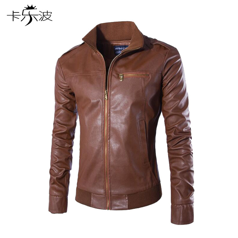KALEBO Autumn and winter mens solid color leather collar fashion mens Slim Korean mens leather jacket