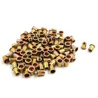 uxcell 100pcs 3/8 16 Brass Tone Steel Flat Head Rivet Nut Insert Nutsert for Car