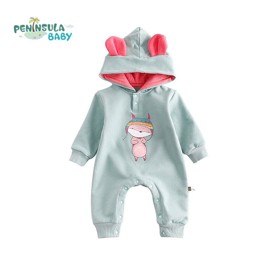 New Brand Cartoon Infant Baby Clothing Hooded Cotton Long Sleeve Baby Rompers Girls Boys Newborn Autumn Thick Warm Jumpsuits newborn winter autumn baby rompers baby clothing for girls boys cotton baby romper long sleeve baby girl clothing jumpsuits