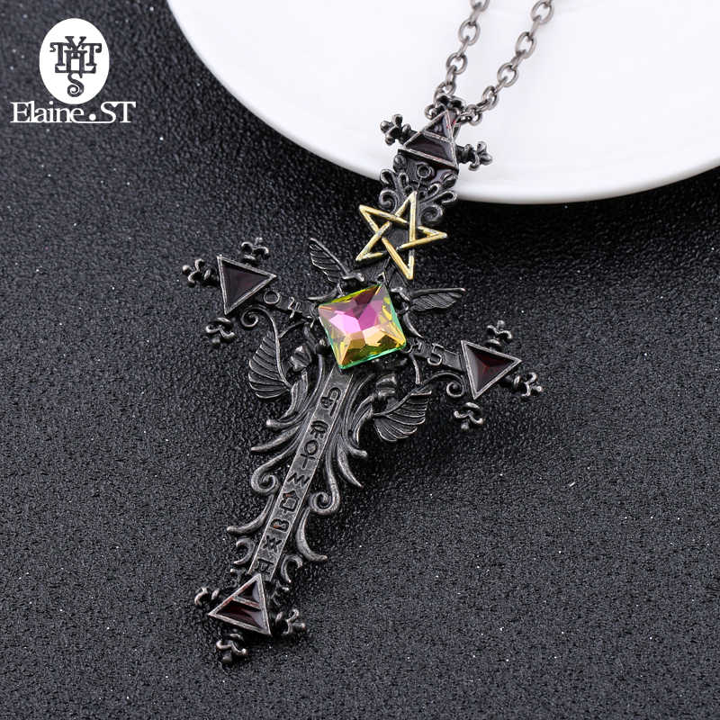 Freeshipping 1pc Vintage Gothic Cross Statement Necklace Triangle Pentagram Geometric Necklace Women jewellery Hip Hop Men Joyas