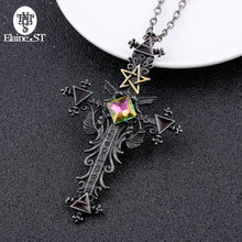 Freeshipping 1pc Vintage Gothic Cross Statement Necklace Triangle Pentagram Geometric Necklace Women jewellery Hip Hop Men Joyas(China)