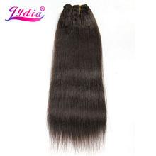 לידיה לנשים קינקי ישר גל 12 22 inch סינטטי אריגת שיער הארכת טהור צבע #4 שיער חבילות 110 גרם\אריזה