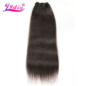 Image 1 - Lydia For Women Kinky Straight Wave 12 22 Inch Synthetic Weaving Hair Extension Pure Color #4  Hair Bundles  110g/Pack