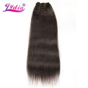 Image 1 - Lydia dla kobiet Kinky prosto fala 12 22 Cal syntetyczne falowanie włosów rozszerzenia czysty kolor #4 wiązki włosów 110 g/paczka