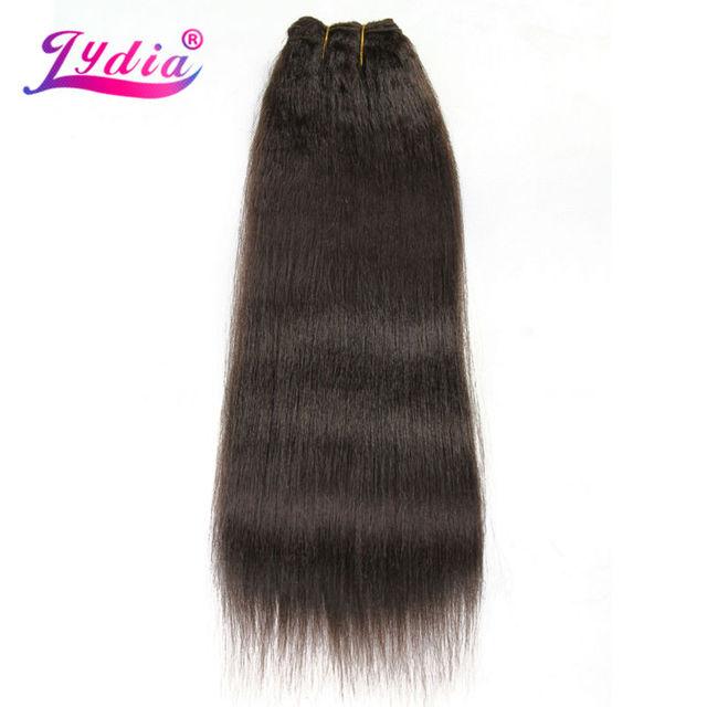 Lydia dla kobiet Kinky prosto fala 12 22 Cal syntetyczne falowanie włosów rozszerzenia czysty kolor #4 wiązki włosów 110 g/paczka