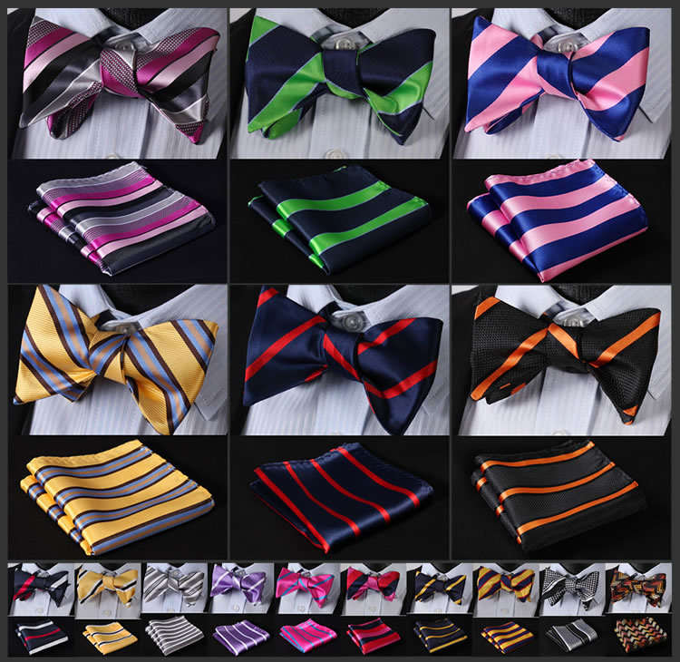 ESA Stripe Men Silk Woven Party Classic Pocket Square Self Bow Tie Handkerchief Set