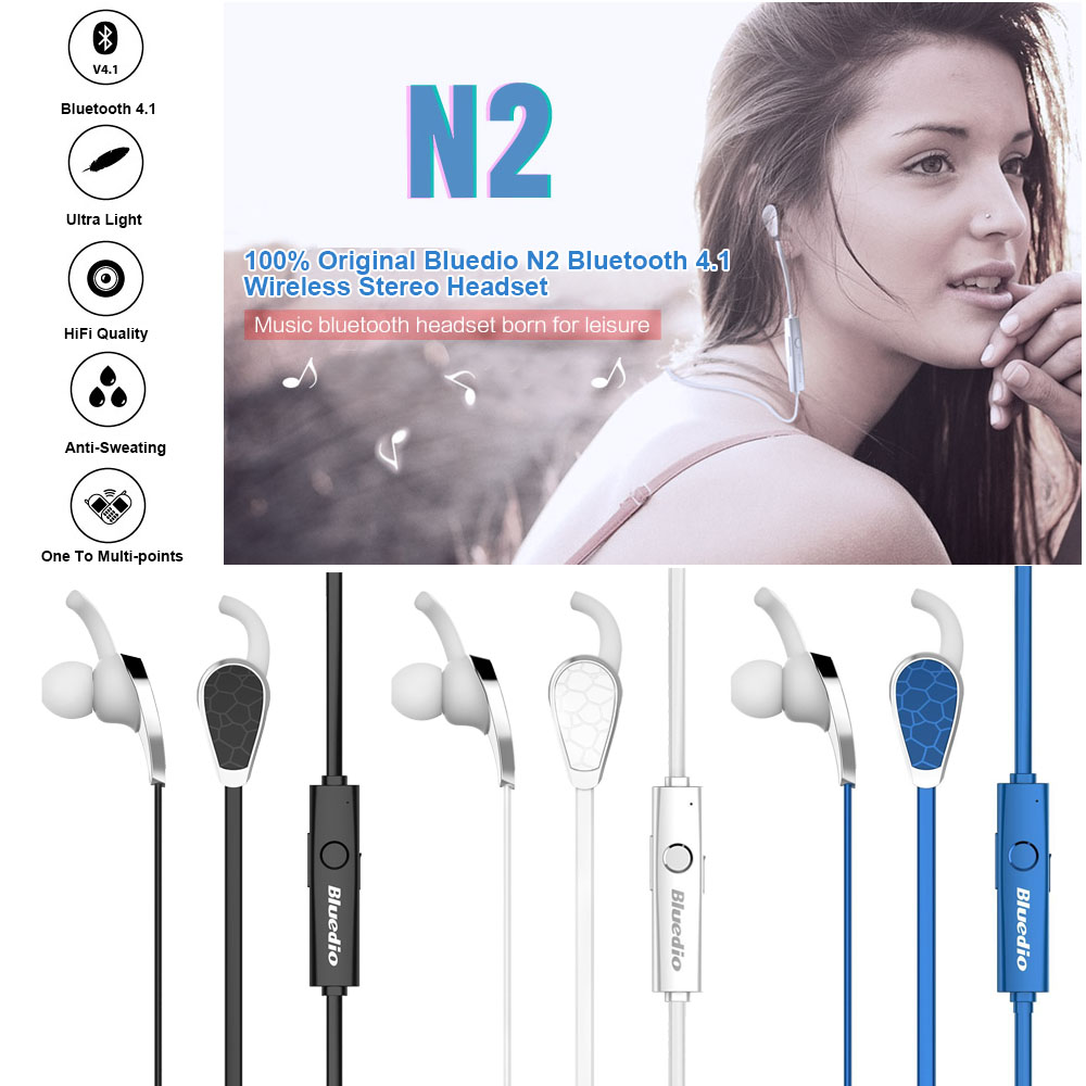 Original Bluedio N2 Bluetooth 4.1 Wireless Stereo Headset Headphones Earphones In-ear Earbuds Sports Gym