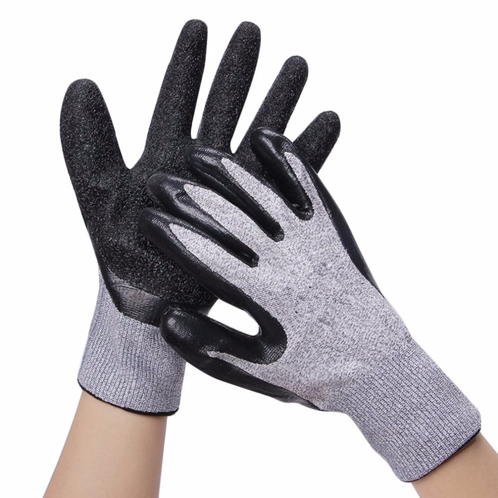 1 Pair Working Gloves 5-level Anti-cutting Protective Gloves HPPE Wear-resistant Labor Insurance Gloves Black Natural Latex high quality cut proof labor gloves breathable protective gloves 1 pair wear resistant anti slip nitrile coating knitted gloves